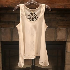 Fun & Flirt Ivory Tank Top with cutout design • Lg
